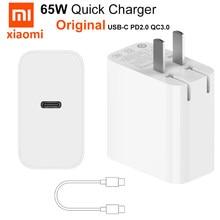 Original xiaomi 65 w carregador mi 65 w USB-C fast power tipo-c usb pd 2.0 tipo c para macbook ar xiaomi mi 10 pro huawei p30 p40