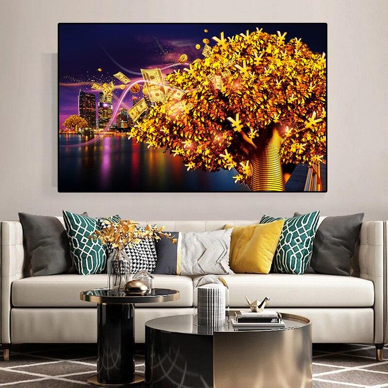 Abstrait or Dollar feuilles argent arbre affiches et impression bâtiment paysage toile peinture mur Art photo salon décor