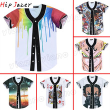 summer Hawaiian style Tropical beach  Flower  jerseys 3D Print  Men graffiti-art baseball Jerseys hiphop baseball shirt  tops