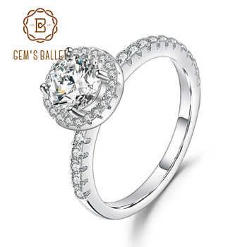 GEM'S BALLET 925 Sterling Silver 1.0Ct 6.5mm EF Color Halo Moissanite Rings with Side Stones For Women Engagement Jewelry - DISCOUNT ITEM  45% OFF All Category