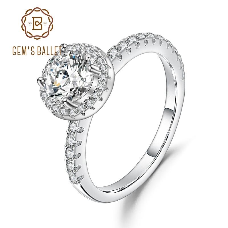 GEM'S balet 925 Sterling Silver 1.0Ct 6.5mm kolor EF Halo Moissanite pierścienie z kamienie boczne dla kobiet zaręczyny biżuteria w Pierścionki od Biżuteria i akcesoria na  Grupa 1