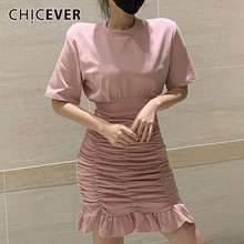 CHICEVER Ruched Ruffles Women's Dress O Neck Short Sleeve High Waist Tunic Slim Mini Dresses Female 2020 Fashion Summer Clothes(China)