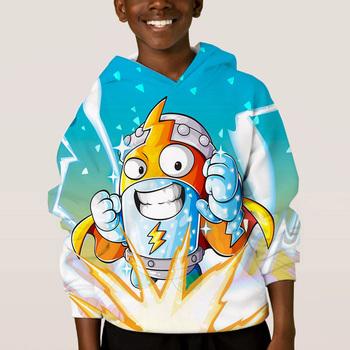 Super Zings bluza z kapturem dla dzieci śliczne 3D bluza z kapturem dla dzieci chłopiec dziewczyna Superzings sweter nowe dzieci jesienny w stylu Harajuku zimowe bluzki tanie i dobre opinie COTTON Poliester CN (pochodzenie) Wiosna jesień REGULAR Pełna STANDARD Suknem Hoodies 250g Swetry Drukuj Na co dzień