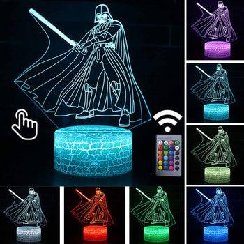 Star Wars Darth Vader Anime Figure Acrylic 3D Illusion LED Lamp Colourful NightLight Death Star Mask Yoda Model Toys Child Gift 31