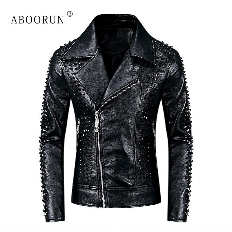 ABOORUN Men's Punk Leather Jackets Black Rivets Motorcycle Leather Jackets Brand Slim Fit Biker Leather Coat For Male