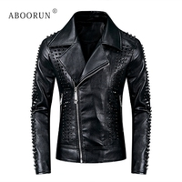ABOORUN Men's Punk Leather Jackets Black Rivets Motorcycle Leather Jackets Brand Slim fit Biker Leather Coat for Male