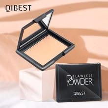 Qibest 9 cores controle de óleo pó rosto profissional iluminar cobertura completa corretivo maquiagem de longa duração compacto ajuste em pó
