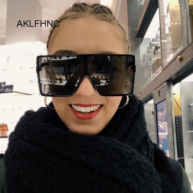 Flat Top Oversize Square Sunglasses Women Fashion Retro Gradient Sun Glasses Leopard Big Frame Vintage Eyewear UV400
