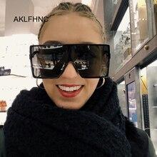 Flat Top Oversize Square Sunglasses Women Fashion Retro Grad