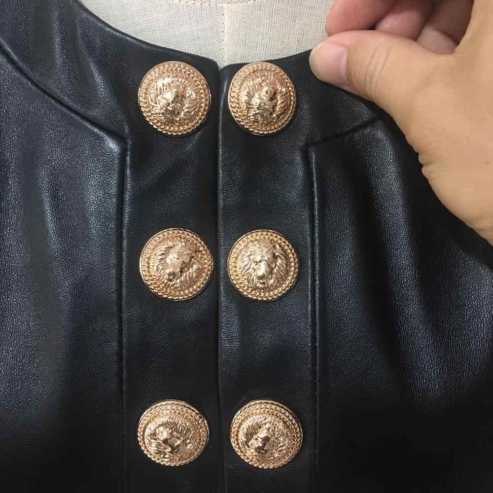 사용자 정의 더블 브레스트 금속 단추 가죽 자 켓 여성 라운드 목 부드러운 진짜 가죽 코트 자연 양 가죽 탑 F919