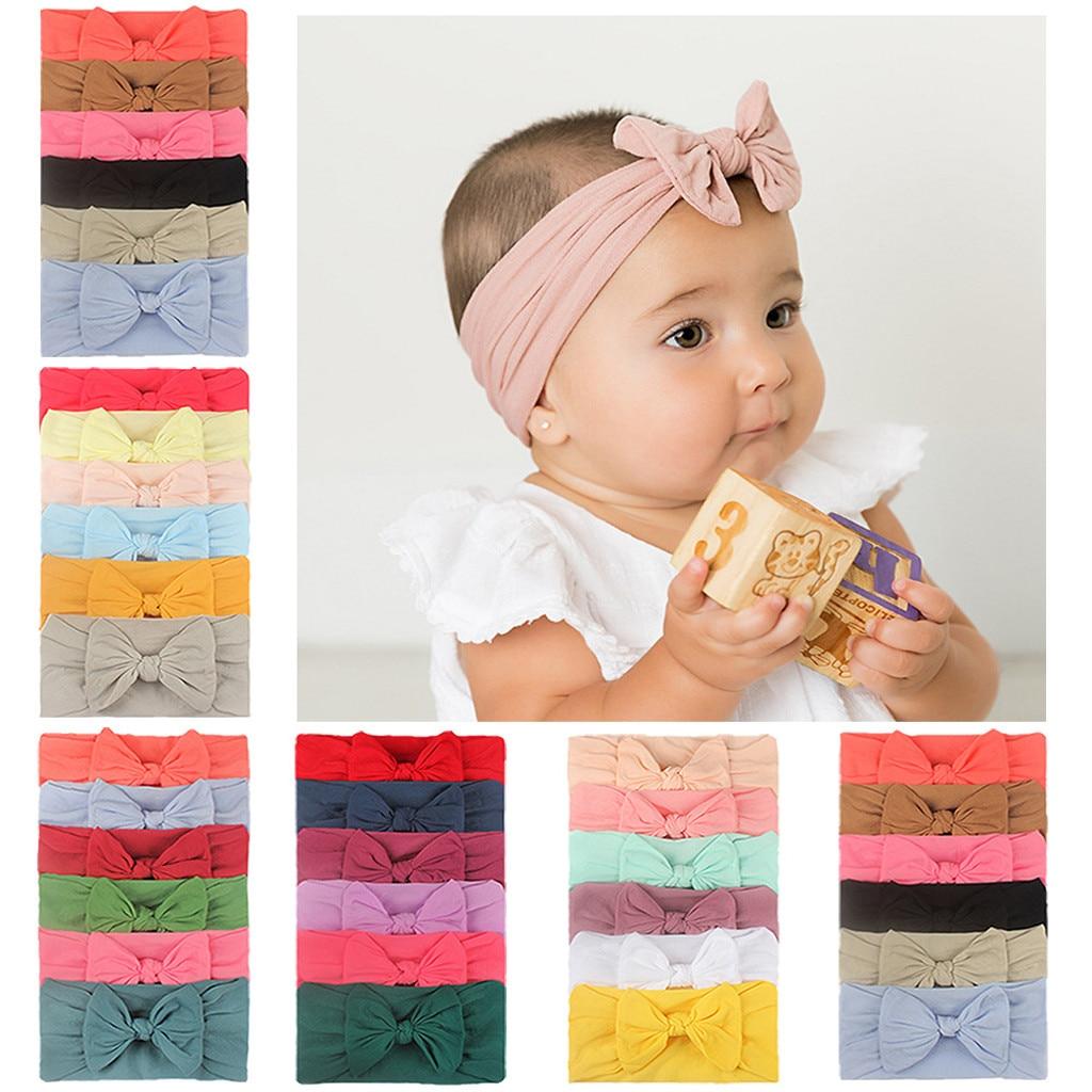 6pcs algodão bandana para bebê meninas meninos do bebê macio arco nó turbante faixas de cabelo do bebê acessórios para o cabelo do bebê # p30