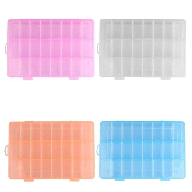 24 Grids Adjustable Transparent Jewelry Storage Box Ring Earring Drug Pill Portable Plastic Case Container Store Small Things