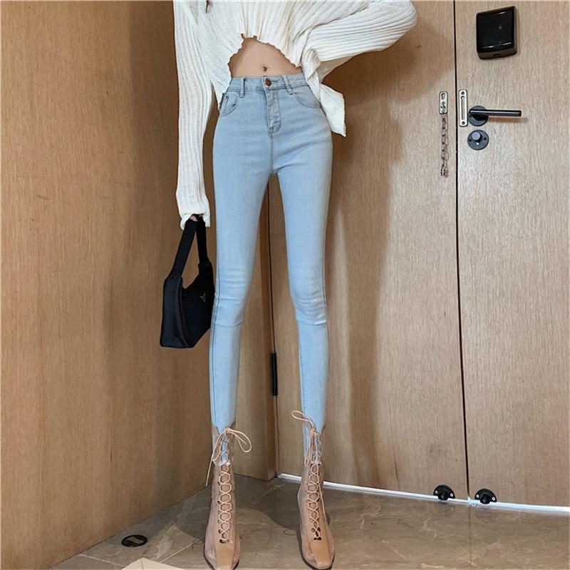 Real Shot 2019 New Fashion High Waist Design Slim Slim Stretch Denim Feet Nine Pants