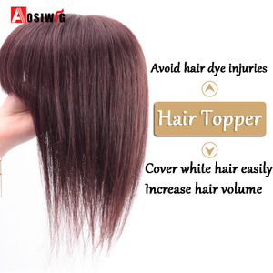 AOSI Hair Topper Top Toupee Hairpiece 3 Clip In One Piece Hair Extension Synthetic Hair With Bangs For Women Heat Resistant