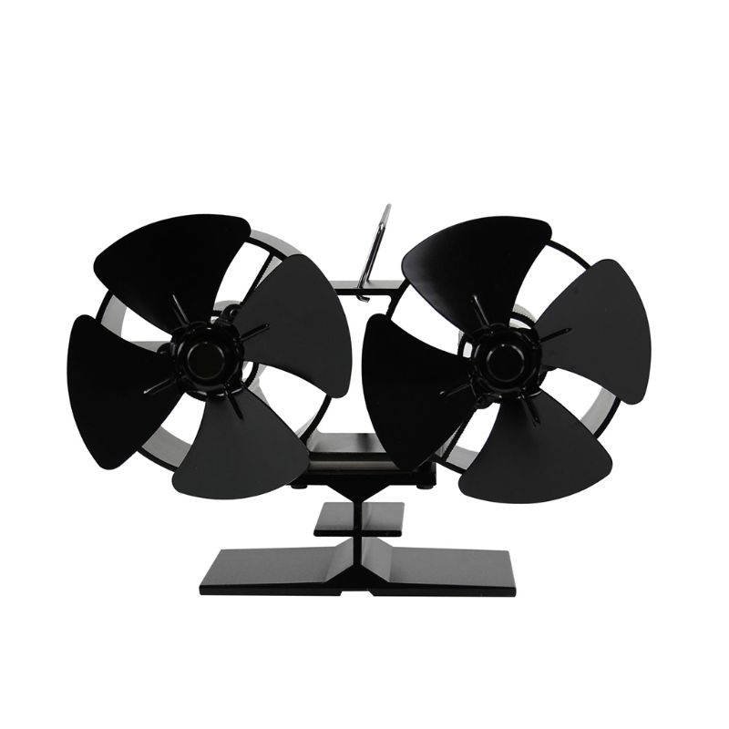 Dual Head 8 Blades Powered Stove Fan Aluminium Silent Eco-Friendly For Wood Log Burner Fireplace Ecofan