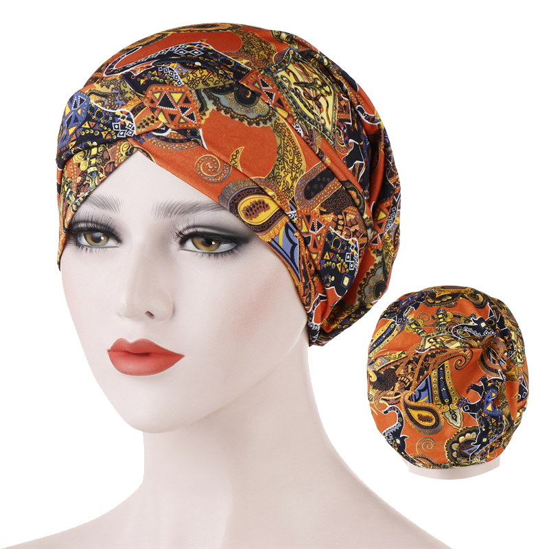 Fashion Print Inner Caps For Hijab Bonnet Forehead Cross Cotton Muslim Turban Africa Wrap Head Scarf Islamic Hijabs Turbante