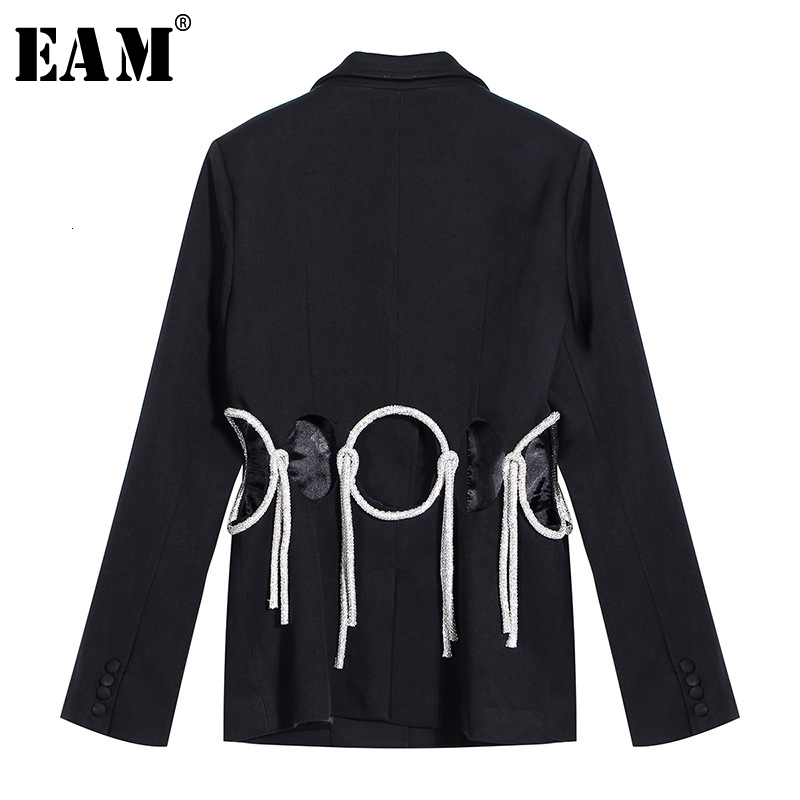 [EAM]  Women Hollow Out Rhinestone Blazer New Lapel Long Sleeve Loose Fit  Jacket Fashion Tide Spring Autumn 2020 19A-a782
