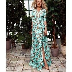 Женское длинное платье макси с принтом летнее платье с v-образным вырезом и коротким рукавом на шнуровке элегантное женское на вечеринку в к...