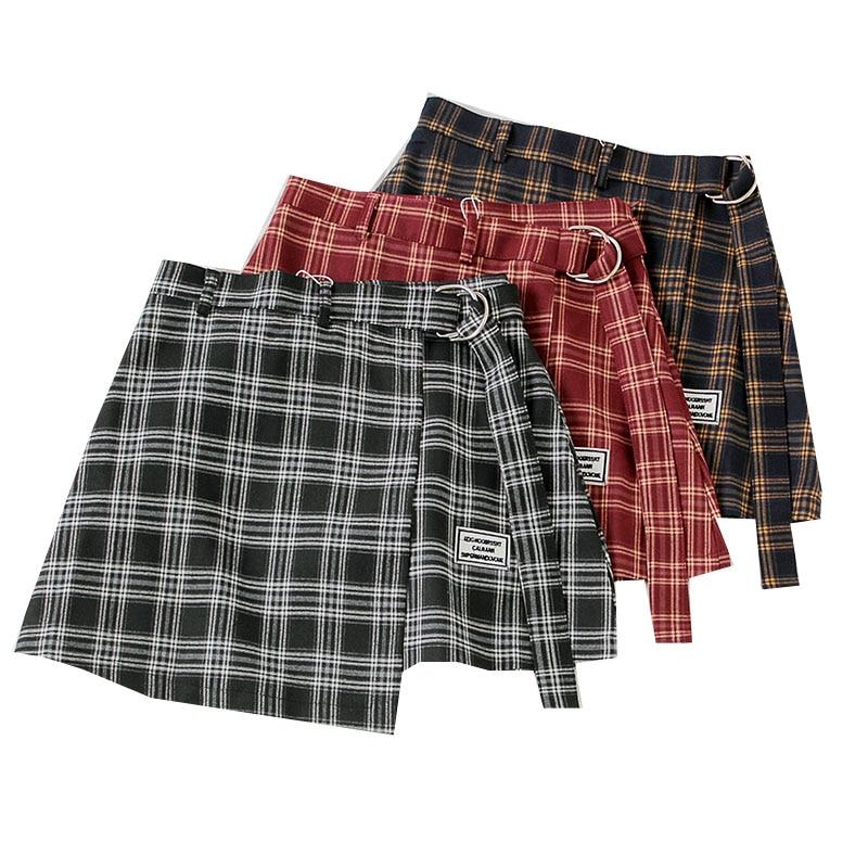 Plaid Mini Skirt Women Bottoms High Waist Woman Skirts Summer Streetwear Casual A-Line Ladies Skirts Vintage Female Short Skirt