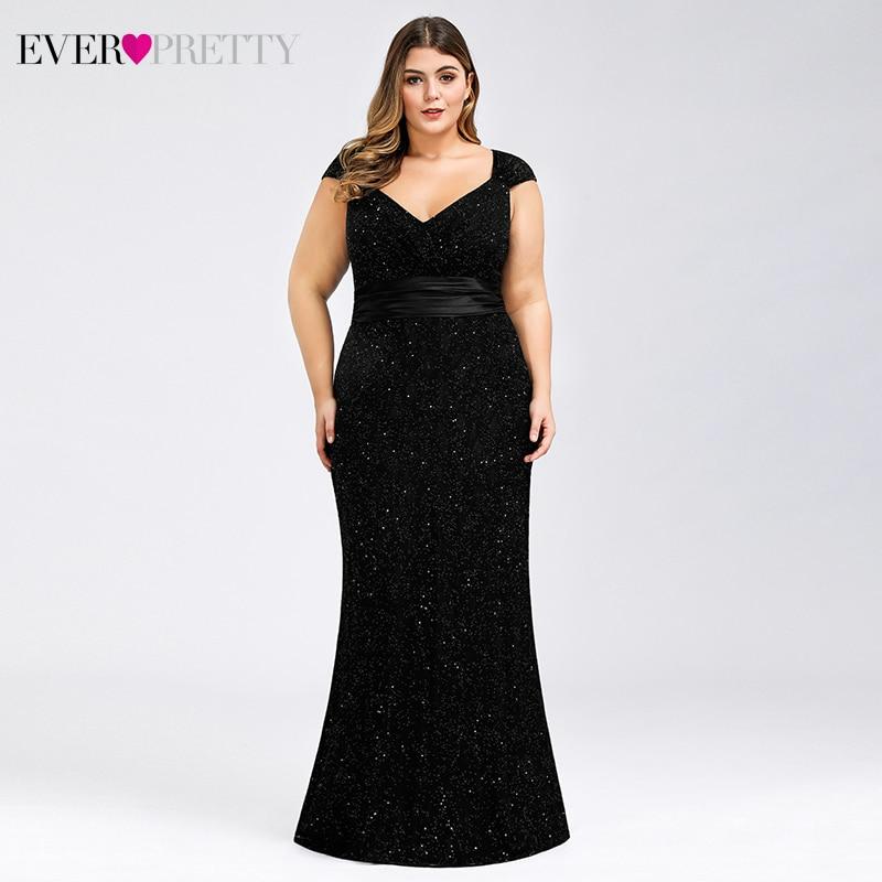 Plus Size Black Prom Dresses Long Ever Pretty V-Neck Sleeveless Beaded Elegant Lace Formal Mermaid Party Gowns Vestidos De Gala