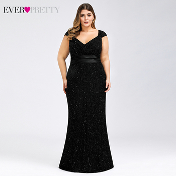 Plus Size Black Prom Dresses Long Ever Pretty V-Neck Sleeveless Beaded Elegant Lace Formal Mermaid Party Gowns Vestidos De Gala plus size prom dresses 2020 ever pretty ep08838 elegant mermaid lace sleeveless v neck long party gowns sexy wedding guest gowns