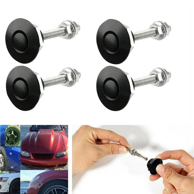 4Pcs Quick Release Push Hood Latch Button Car Pin Bonnet Lock Bumper Clip Latches