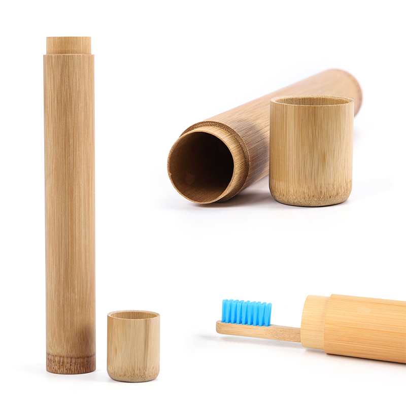 Eco-friendly Portable Travel Toothbrush Jar Canister With Lid Handmade Natural Container Round Bamboo Toothbrush Storage Box