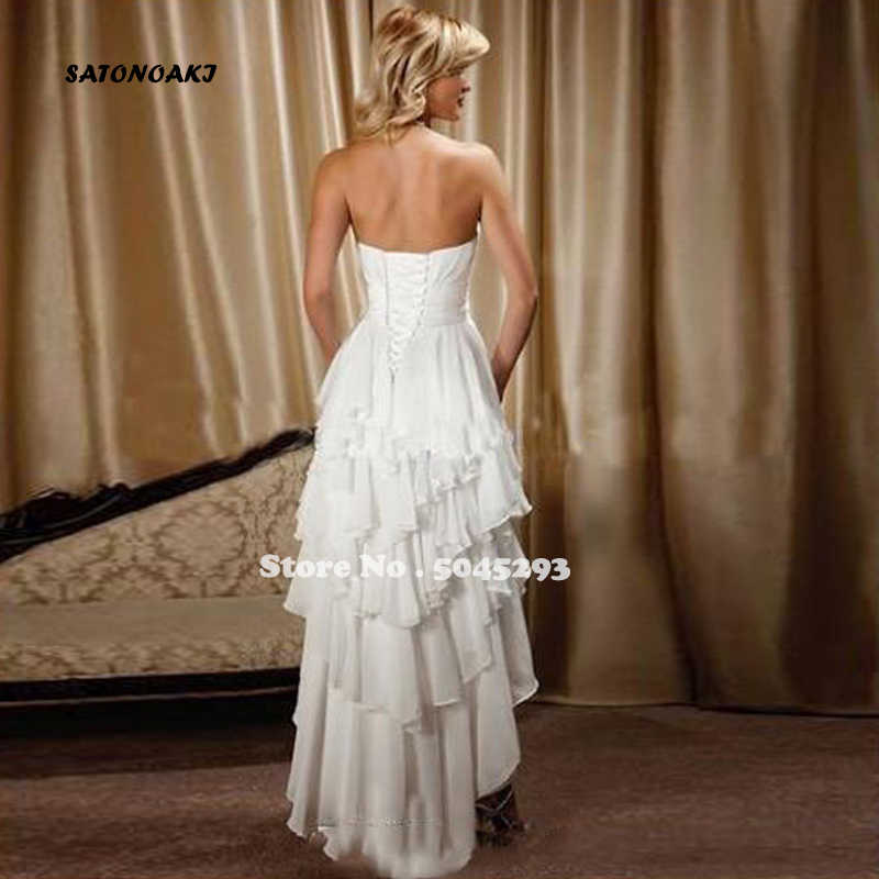 SATONOAKI Beach High Low Abiti Da Sposa In Pizzo-up Corsetto Gonna A Più Livelli Paese Occidentale Breve Posteriore Lungo Anteriore Da Sposa Abiti Da Sposa gelinlik