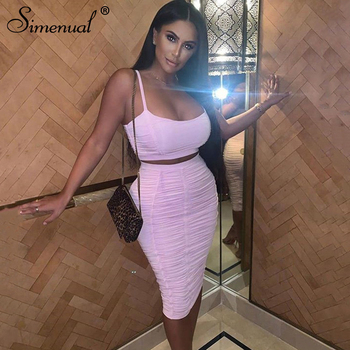 Simenual Solid Hot Sexy Ruched Women Two Piece Sets Strap Fashion 2020 Party Club Outfits Crop Tank Top And Skirt Matching Set