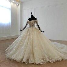 את כתף ארוך שרוולים ואגלי שמלות כלה נפוחה כלה שמלת 2020