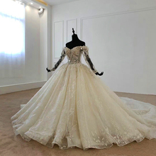 Fora do ombro mangas compridas miçangas vestido de noiva inchado vestido de noiva 2020