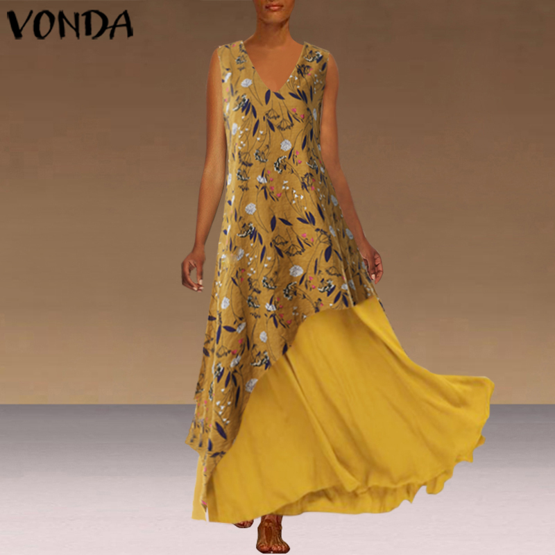 VONDA Fashion Long Dress Sexy V Neck Sleeveless Maxi Summer Dress 2019 Vintage Bohemian Sundress Casual Loose Plus Size Vestidos