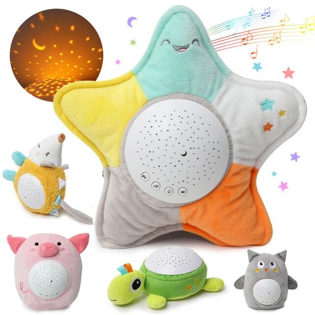 Lampe de nuit à Led, peluche animaux, peluche douce, avec musique et étoiles, projecteur lumineux, jouets pour bébés, cadeaux pour enfants