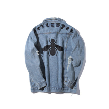 2019 Autumn New Japan Style Hip hop Denim Jacket Men Bee embroidery Casual Loose Coats