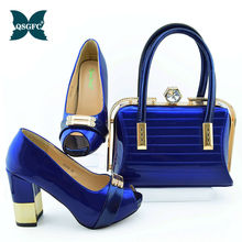 Bag-Set Rhinestone Italian Shoes Royal-Blue-Color Small African New-Arrival Decorated