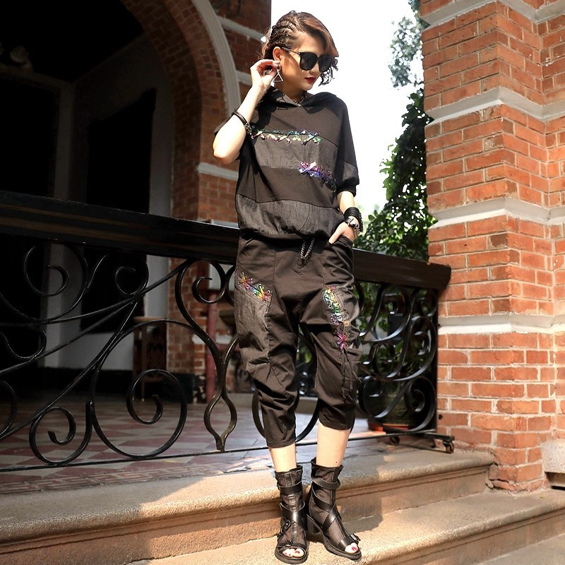 High Quality Summer New Brand Loose Casual Conjuntos De Mujer Hooded Patchwork Top Calf Length Harem Pants Women Suit 2pcs Sets