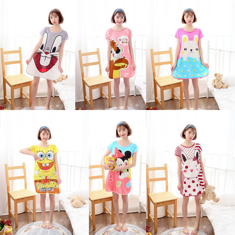 Stall Supply Of Goods Network Nightgown Women's Summer Short Sleeve Large Size Loose-Fit Cartoon Mid-length Household Dress