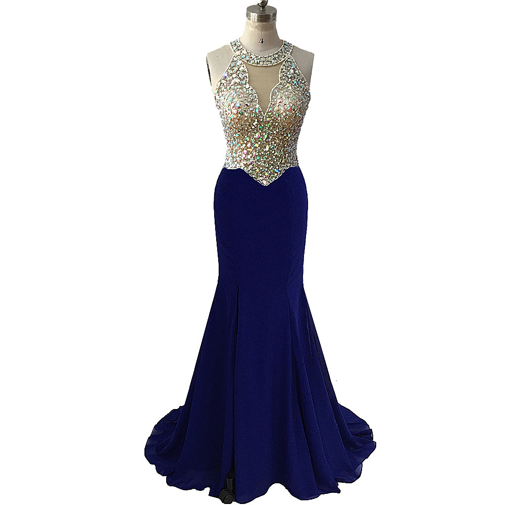 Beading Chiffon Blue Mermaid Prom Dresses 2020 Illusion O Neck Sequined Formal women's Evening Party Gowns vestidos De Fiesta
