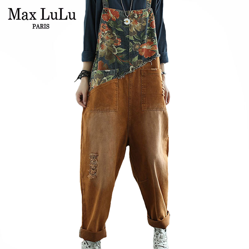 Max LuLu New Chinese Designer Ladies Floral Denim Trousers Womens Vintage Printed Jeans Casual Loose Ripped Oversized Overalls