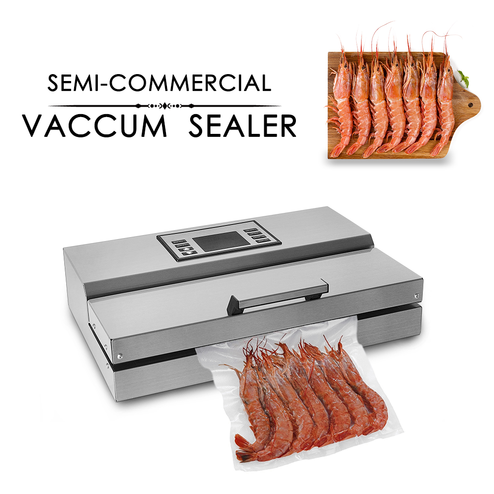 GZZT High Quality Food Vacuum Sealer Packaging Machine Semi-commercial Stainless Steel Body With A Roll Bags