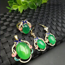 925 Silver Jewelry Natural Jade Medullary Jewelry Set Gift for Women Earrings/Ring/Pendant/Necklace Chain Gift(China)