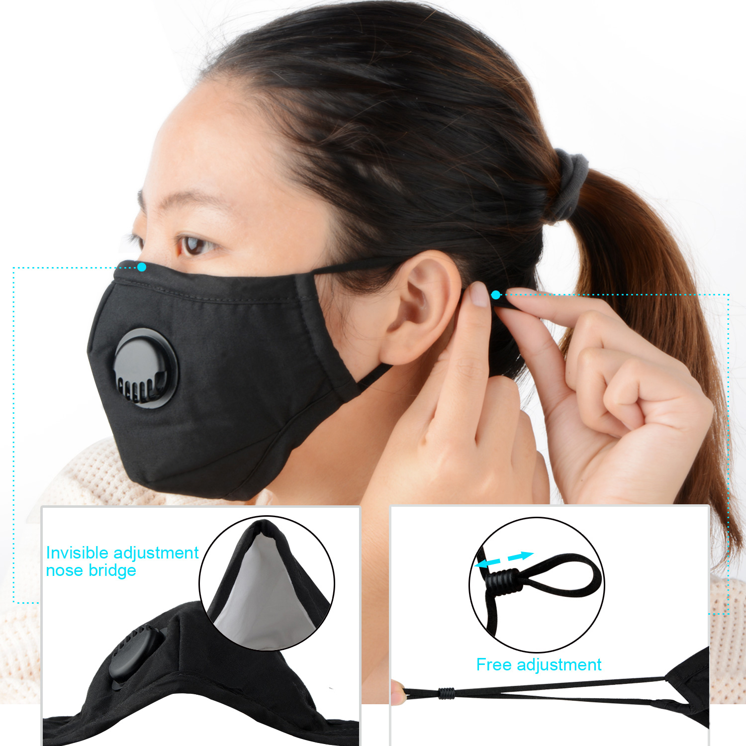 Adults/Children Face Mask Dust Mask Anti Pollution Mask PM2.5 Activated Carbon Filter Insert Breathable Valve Mask Mouth Cover