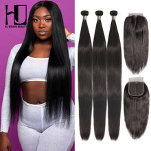 HJ Weave Beauty Straight Human Hair Bundles With Closure 28 30inch Brazilian Hair Weave Bundles 7A Virgin Hair Bundles(China)