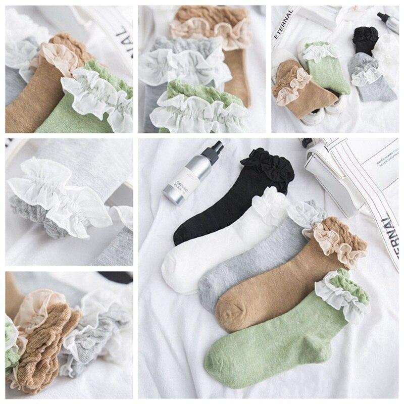 Japanese Kawaii Princess White Black Lace Lolita Socks Retro Ruffle Dancing Ballet Socks Cute Frilled Flowers Pilates Socks