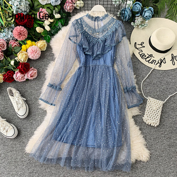 Young Gee 2021 Autumn Winter Vintage Lace Floral Midi Dress Elegant Women Party Long Sleeve Pearls Beading Mesh Ruffles Dresses delocah new women autumn dress runway fashion 3 4 sleeve floral printed beading back zipper elegant vintage party mini dresses