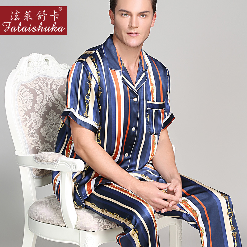 Fashion Striped 100% Mulberry Silk Pajamas Sets Men Sleepwear High Quality Original Silk Noble Male Elegant Pyjamas Sets Men