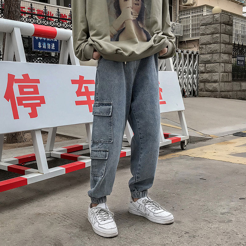Cotton Drawstring Jeans Men's Fashion Washed Solid Color Retro Casual Jeans Men Streetwear Loose Hip Hop Straight Denim Trousers