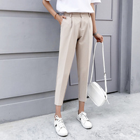2019 New Women Pants Spring Autumn Solid Elastic Waist Harem Pants Female Causal Loose Lady Ankle Length Button Trousers