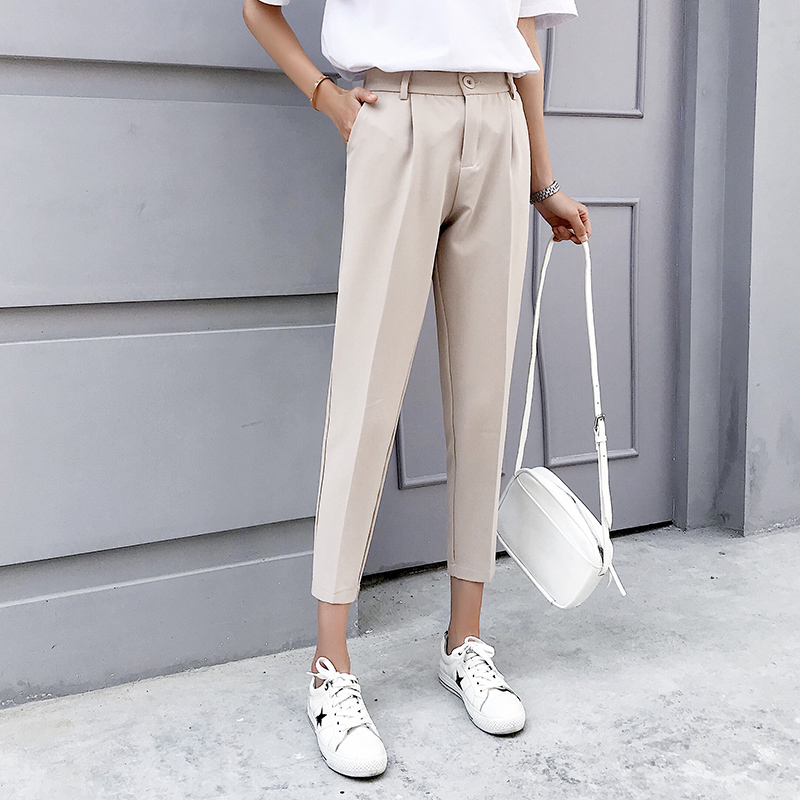 2020 New Women Pants Spring Autumn Solid Elastic Waist Harem Pants Female Causal Loose Lady Ankle-Length Button Trousers
