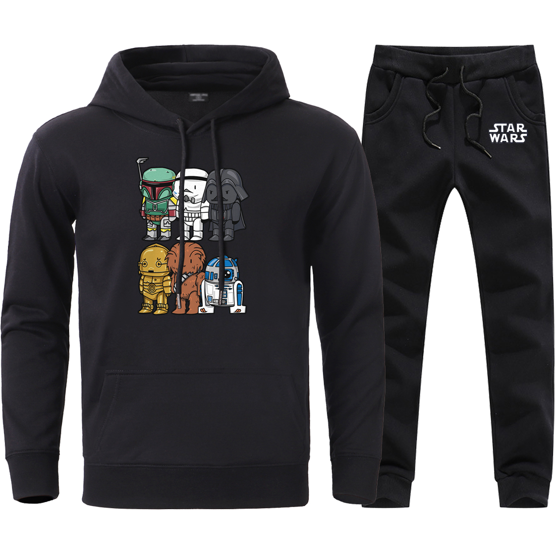 Star Wars Yoda Print Sweatshirts Hoodies Pants 2 Piece Sets 2020 Man Brand Fashion Hooded Sweatpant Male Long Sleeve Casual Suit
